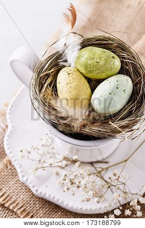 Close Up Image Of Easter Decor Eggs Over White Background