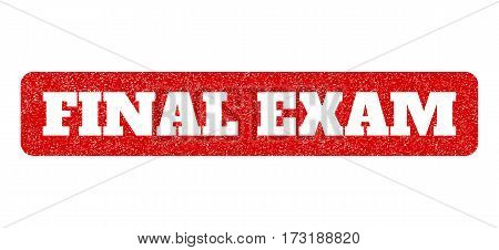 Red rubber seal stamp with Final Exam text hole. Glyph tag inside rounded rectangular shape. Grunge design and dust texture for watermark labels. Scratched sticker.