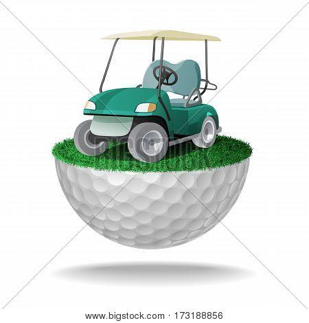 Golf Cart On Half Golf Ball With Grass
