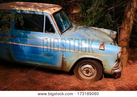 Osaka, Japan - FEB 20, 2017: The Ford Anglia in the Wizarding World of Harry Potter in Universal Studios Japan. Universal Studios Japan is a theme park in Osaka, Japan.Weasley Car Harry Potter