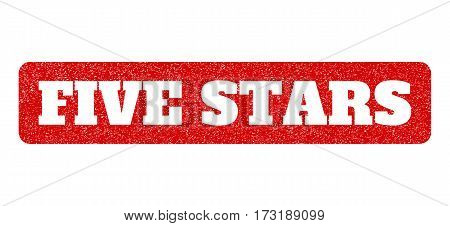 Red rubber seal stamp with Five Stars text hole. Glyph message inside rounded rectangular shape. Grunge design and unclean texture for watermark labels. Scratched sticker.