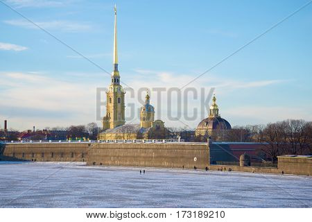 Peter and Paul Cathedral in Peter and Paul fortress in January day. Saint Petersburg, Russia