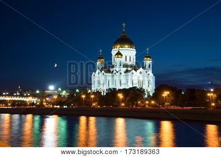 Cathedral of Christ Christ Redeemer on Moskva river embankment on the September night. Moscow, Russia