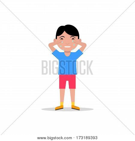 Vector illustration cartoon sad little boy crying. Isolated white background. Child cry with tears. Sobbing sad resentful kid. Flat design.