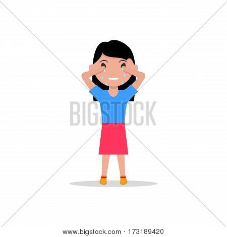 Vector illustration cartoon sad little girl crying. Isolated white background. Child cry with tears. Sobbing sad resentful kid. Flat design.