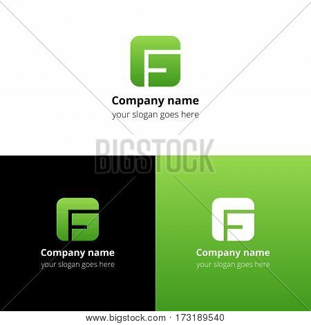 Letter G logo icon flat and vector design template. Monogram G. Logotype G with light green gradient color. Creative vision concept logo, elements, sign, symbol for card, brand, banners.