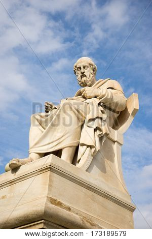 Marble Statue Of The Ancient Greek Philosopher Plato.
