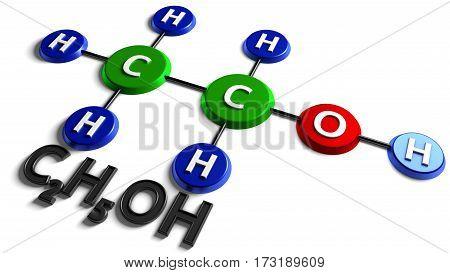 Structural chemical formula. Ethanol. C2H5OH. 3d rendering. Digital illustration on white background