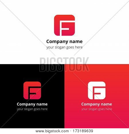 Letter G logo icon flat and vector design template. Monogram G. Logotype G with pink-red gradient color. Creative vision concept logo, elements, sign, symbol for card, brand, banners.