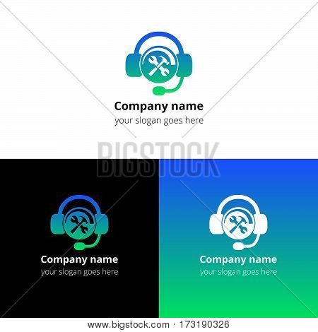 Hotline support service icon, logo. Logotype technical support help with headphones. Vector concept of consultation, telemarketing, consultant, secretary. Help logo with gradient on white background.