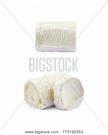 Stick of a goat cheese isolated over the white background, set of two different foreshortenings