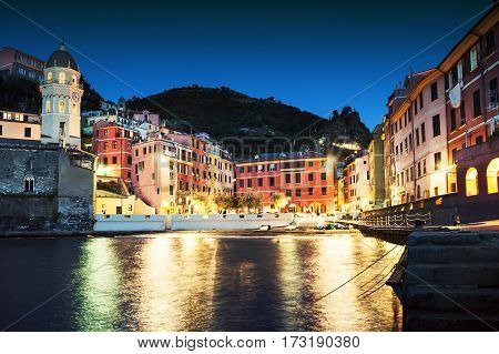 Night View Of Vernazza, Cinque Terre, Italy