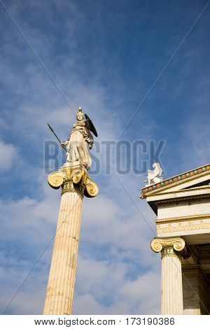 Athena Statue In The The Academy Of Athens ,greece