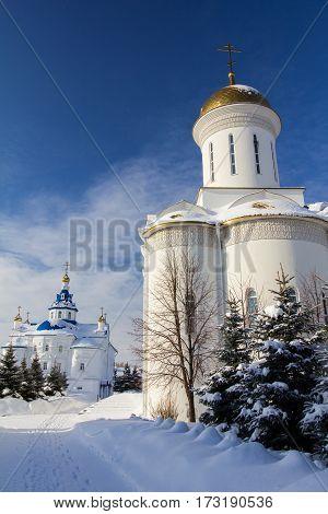 Kazan, Russia, 9 february 2017, Zilant monastery - church winter frozen sunny day, religion concept, wide angle