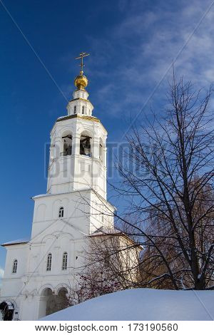 Kazan, Russia, 9 february 2017, Zilant monastery - oldest orthodox church in city - winter snow sunny day, wide angle