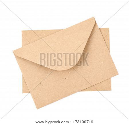 Envelope made of brown recycled paper isolated over the white background