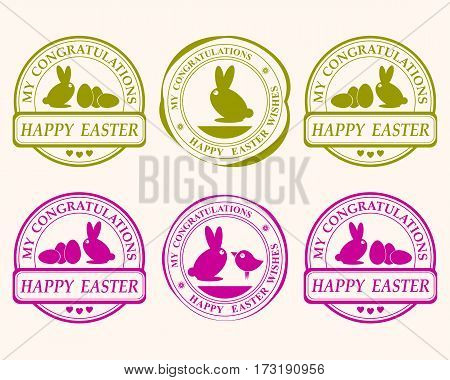 Easter print, print with rabbit, egg and green leaves and purple colors