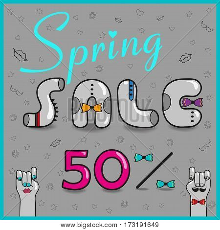 Spring Sale. Fifty percents. Card for retail. Vintage gray letters with colorful ties. Cartoon hands looking at each other. Pink numerals. Illustration