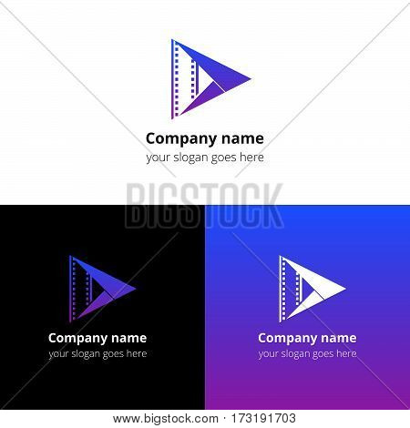 Play music sound button and video movie film strips flat logo icon vector template. Abstract symbol and button with violet-blue gradient for music, cinema, television, industrial service or company.
