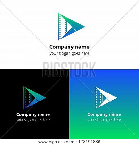 Play music sound button and video movie film strips flat logo icon vector template. Abstract symbol and button with green-blue gradient for music, cinema, television, industrial service or company.