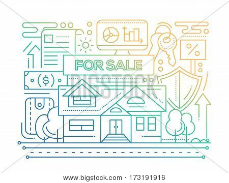 Real estate - vector modern line flat design city composition with house for sale - color gradient