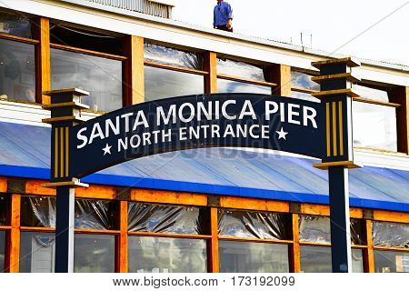 Los Angeles.U.S.A. - October 29, 2015 : welcoming arch in Santa Monica, California. The city has 3.5 miles of beach locations