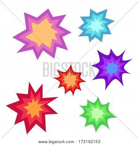 Star bursting boom.Comic book explosion set. Hand drawn vector illustration