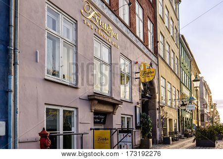 The restaurant tinder box in the first morning light, Nyhamn Copenhagen. Tinder box is a story of the famous danish writer H C Andersen - February 23,  2017