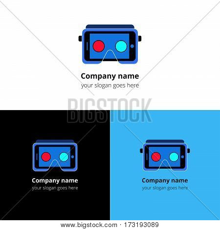 Virtual Reality headset. Logo, icon, sign, emblem vector template. Abstract symbol and button for Oculus Rift, virtual reality, video games company or service.