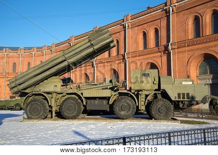 SAINT PETERSBURG, RUSSIA - JANUARY 20, 2017: Fighting vehicle reactive volley-fire systems 9A52