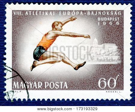 HUNGARY - CIRCA 1966: Postage stamp printed in Hungary  with a picture of a Athletics, from the series