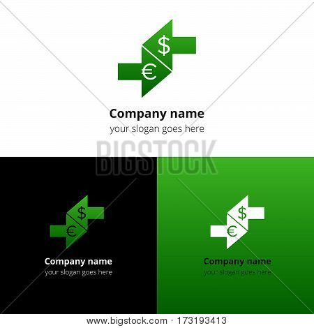 Money currency convert, conversation logo, icon, sign, emblem vector template. Abstract symbol and button with colorful trend gradient for business, bank, pay conversation firm or service company.