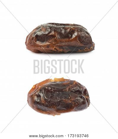 Dried date fruit isolated over the white background, set of two different foreshortenings