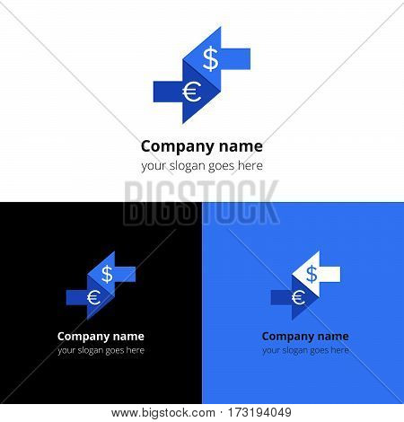 Money currency convert, conversation logo, icon, sign, emblem vector template. Abstract symbol and button with colorful trend color for business, bank, pay conversation firm or service company.
