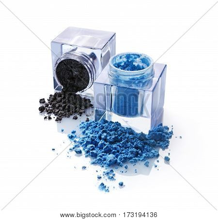 Jars Of Blue And Gray Powder Eyeshadow For Makeup As Sample Of Cosmetic Product