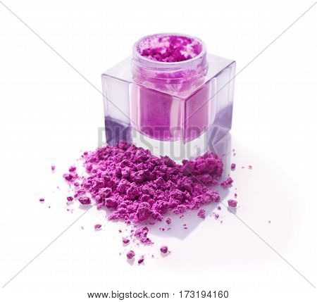 Jar Of Pink Powder Eyeshadow For Makeup As Sample Of Cosmetic Product