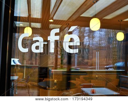 Modern Classical Design Coffee Shop Cafe Restaurant Sign on Glass Window