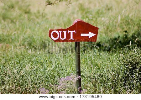 Signpost parking exit in white letter on wooden background