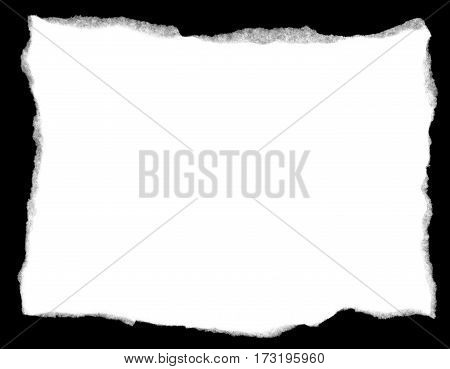 Torn White Paper isolated on a black background