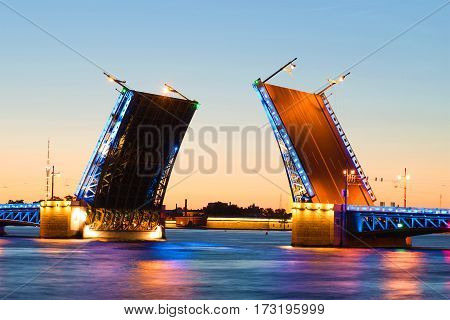 Divorced Palace bridge white July night. Saint Petersburg, Russia
