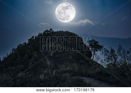 Mountain Peaks Landscape. Walkway To The Top Of A Hill And Full Moon .