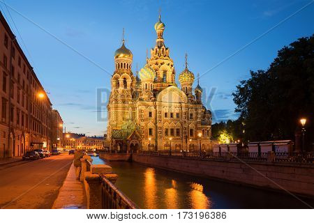 SAINT PETERSBURG, RUSSIA - JULY 10, 2015: view of the Cathedral of Resurrection (Savior on Blood) of the July night