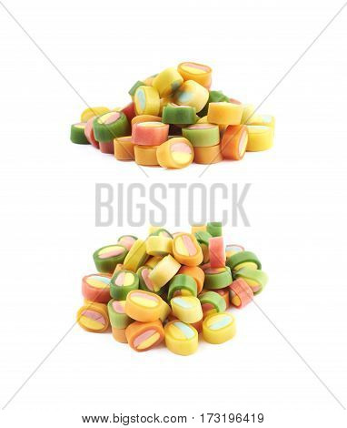 Pile of multiple colorful licorice candies isolated over the white background, set of two different foreshortenings