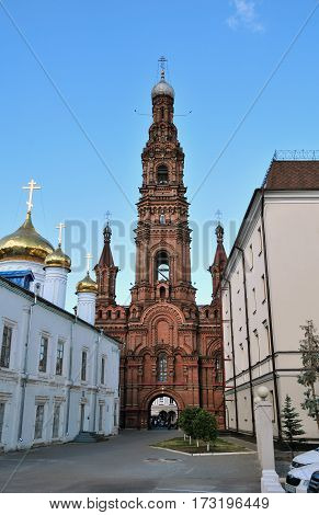 Kazan, Tatarstan, Russia - August 16, 2016.The bell tower of the Cathedral of the Epiphany. Baumana Street.