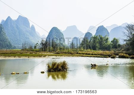 The beautiful river and karst mountains background scenery