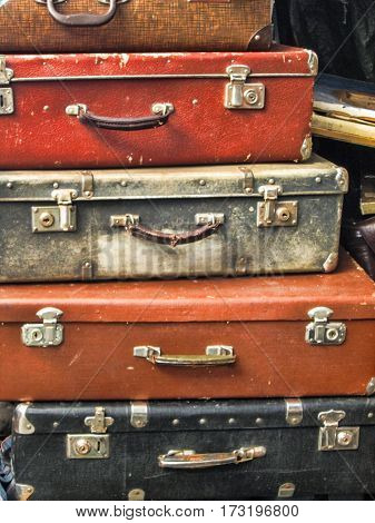 old vintage leather  suitcases for a background