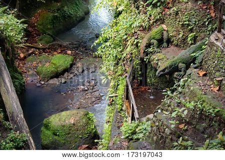 holy pool in Bathing Temple at Sacred Monkey Forest, Ubud, Bali, Indonesia