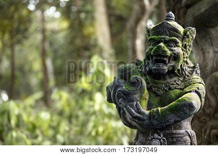 Balinese, Hindu statues in the sacred monkey forest, oriental culture