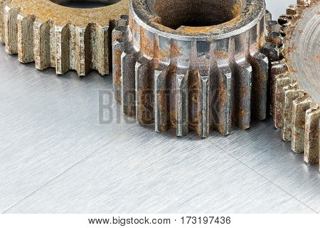 Grunge Weathered Rusty Industrial Metal Gears Macro