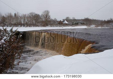 Jagala waterfall, cloudy winter day. Estonia, Europe